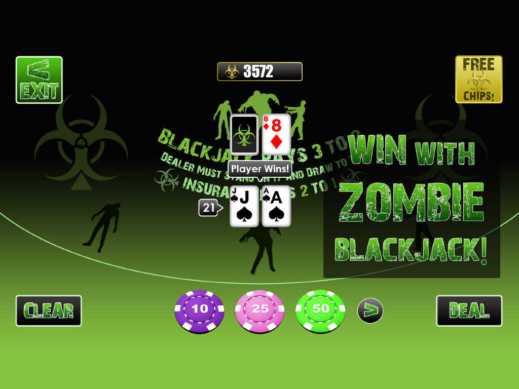 Zombie Online Blackjack Features