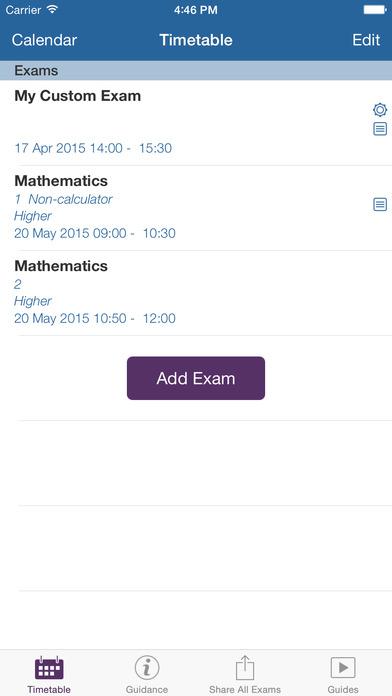 My Exams iPhone Screenshot 1