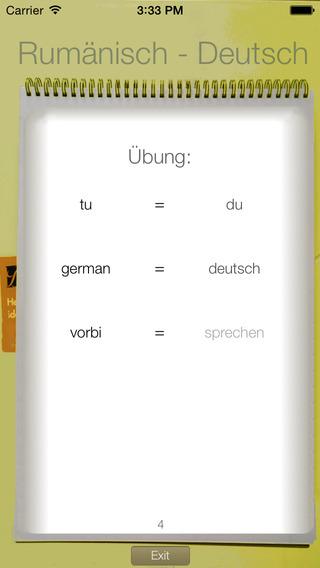 Vocabulary Trainer: German - Romanian iPhone Screenshot 2