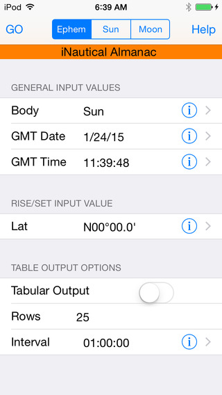 iNA Digitial Nautical Almanac iPhone Screenshot 2