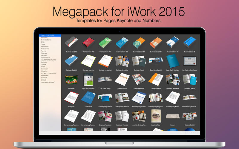 Megapack for iWork 2015: Keynote Numbers Pages Templates Screenshots
