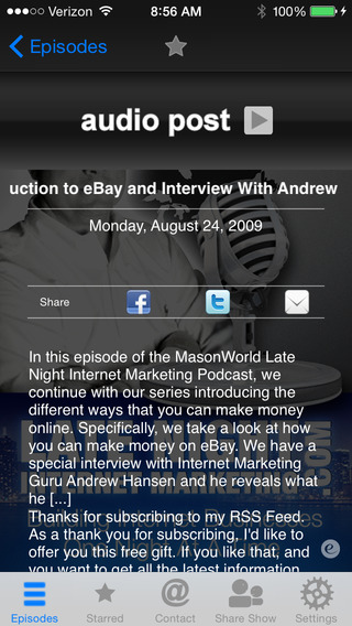 MasonWorld Late Night Internet Marketing- Podcast App iPhone Screenshot 3
