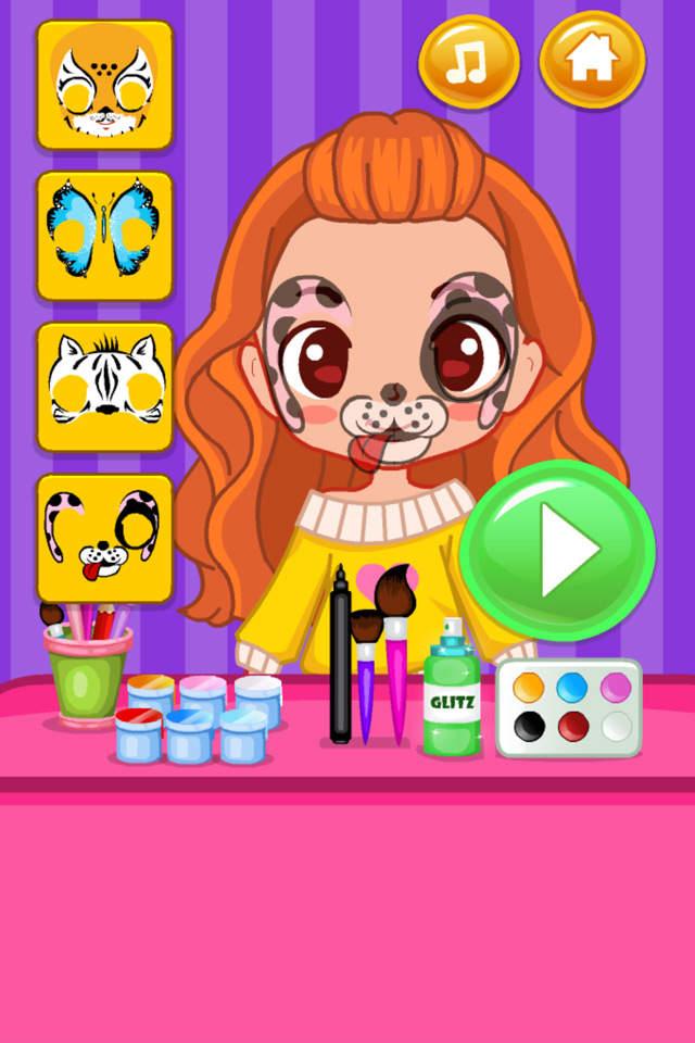 为可爱的女孩珍妮绘制漂亮的脸部彩绘,添加有