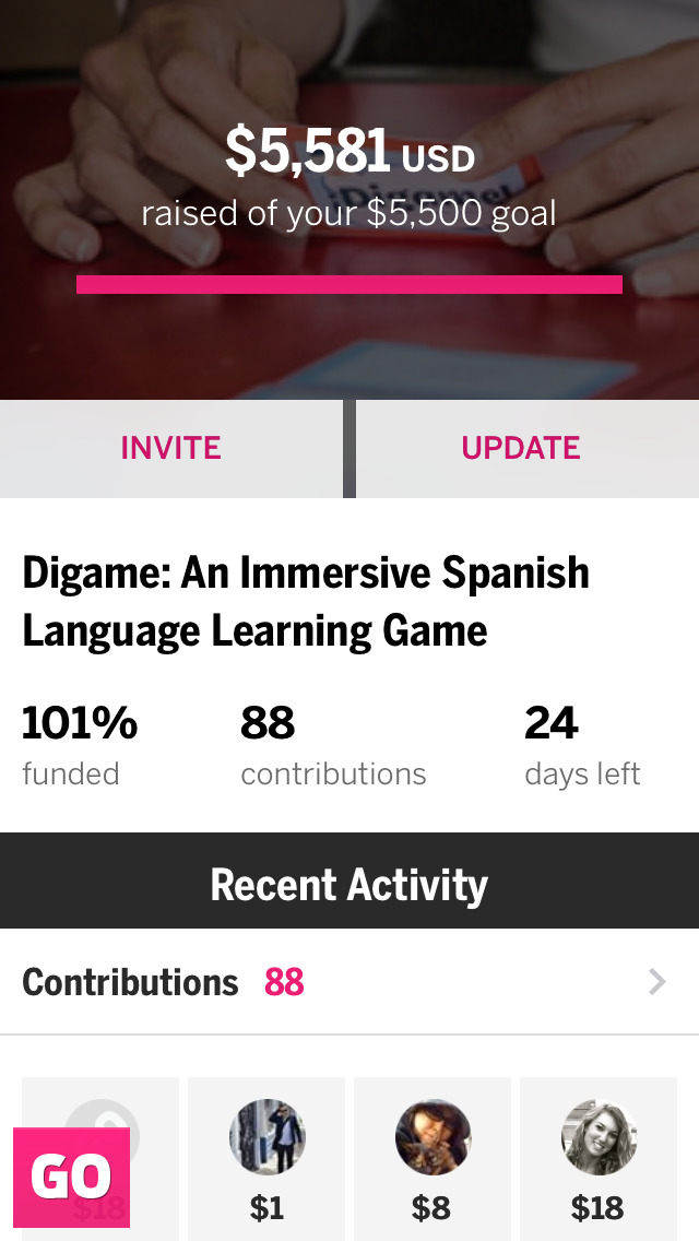 Screenshots of Indiegogo for iPhone
