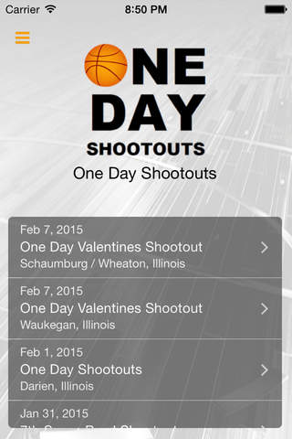 One Day Shootouts screen