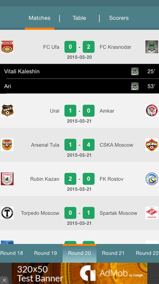 Russia Premier League - live fixtures results standings statistics and history right now