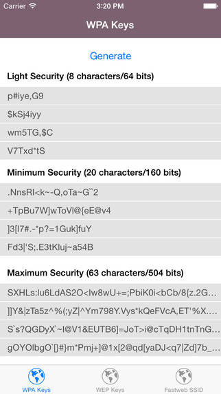 Wi-Fi Keys - WPA WEP Keys for your router
