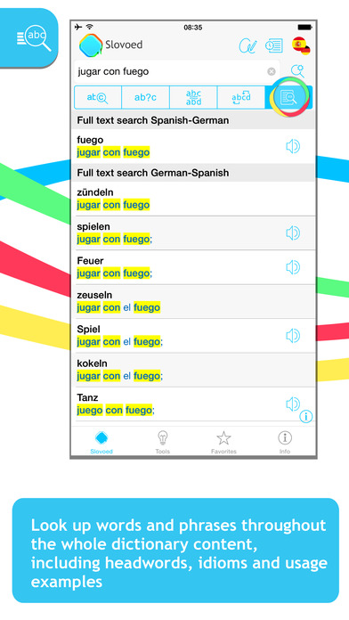 German <-> Spanish Slovoed Deluxe talking dictionary iPhone Screenshot 2