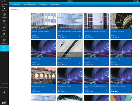 Citi Private Bank Mobile iPad Screenshot 5