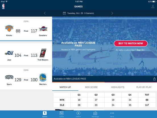 2016 NBA App Screenshots