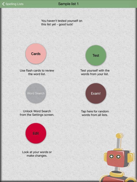 Spelling Test Screenshots