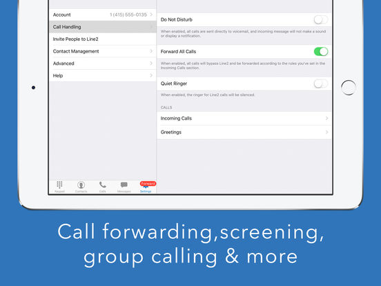 Line2 - A new phone line with calling, texting, and business features. iPad Screenshot 5