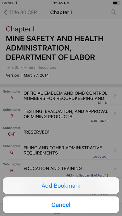 Title 30 Code of Federal Regulations - Mineral Resources iPhone Screenshot 3