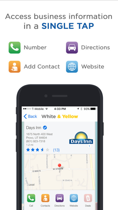 White & Yellow Pages iPhone Screenshot 2