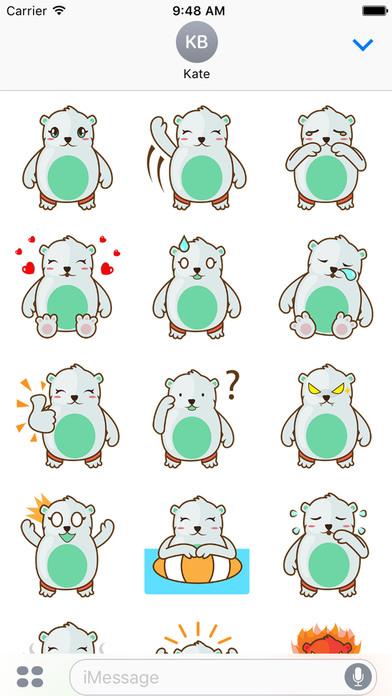 Haku the cute polar bear for iMessage Sticker screenshot 3