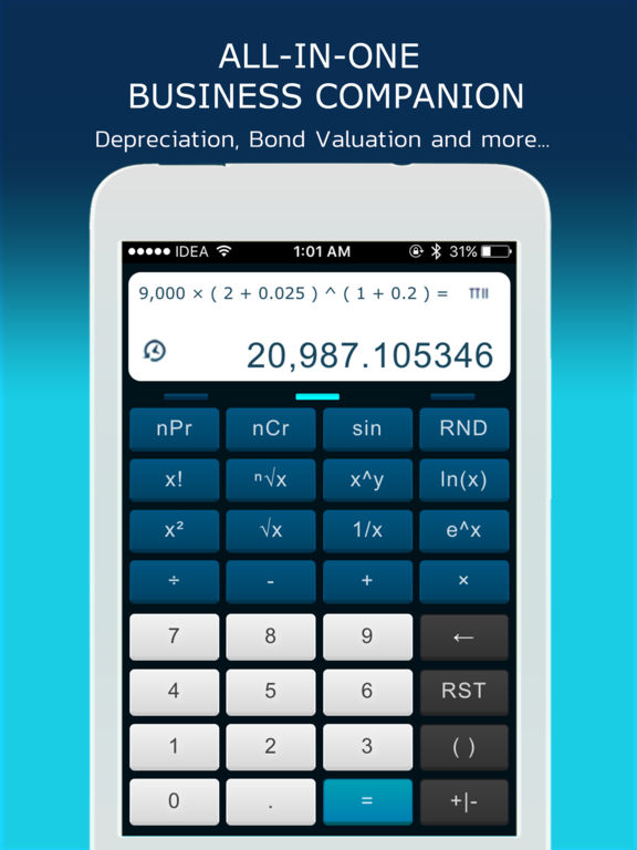TTII Financial Calculator Screenshots