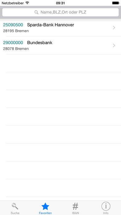 Bankleitzahlen iPhone Screenshot 3