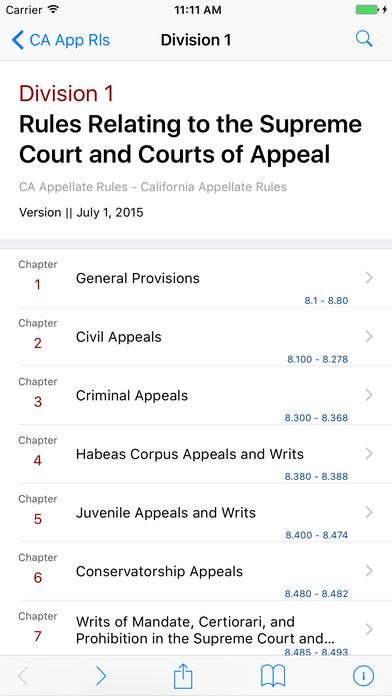 California Appellate Rules iPhone Screenshot 2