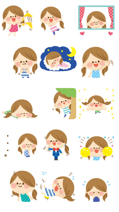 Cheerful Ruddy Girl - New Smile Stickers! app image