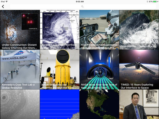 Screenshots of NASA for iPad