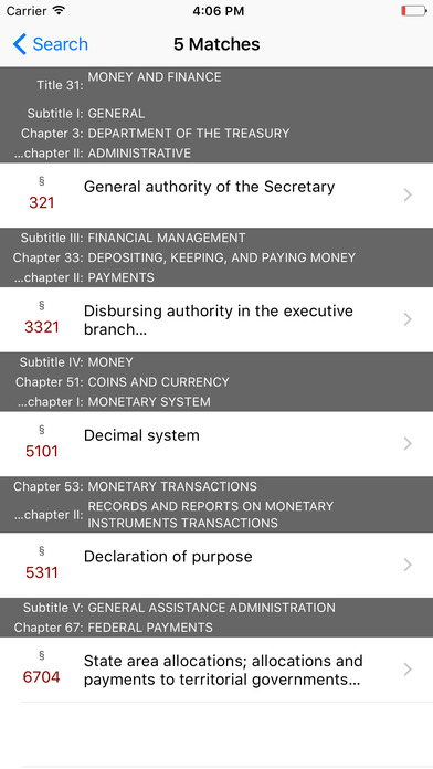 Money and Finance (Title 31 United States Code) iPhone Screenshot 5