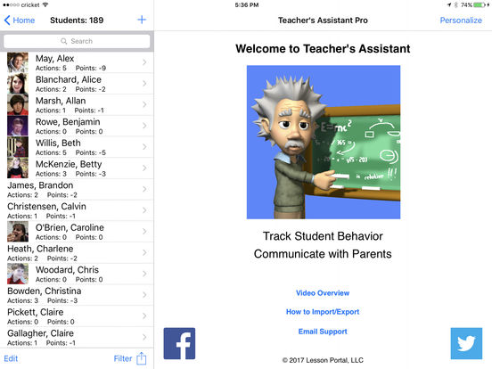 Teacher's Assistant Lite: Track and Report Student Actions, Achievements, and Behavior iPad Screenshot 2
