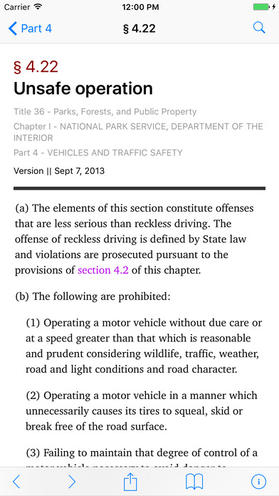 Title 36 Code of Federal Regulations - Parks, Forests, and Public Property iPhone Screenshot 2