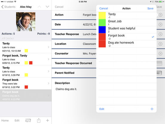 Teacher's Assistant Lite: Track and Report Student Actions, Achievements, and Behavior iPad Screenshot 1