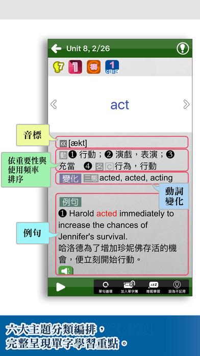 關鍵英單:基礎字彙2200 Apps for iPhone/iPad screenshot
