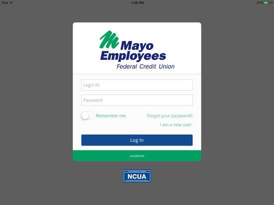 Mayo Employees Federal Credit Union Mobile App iPad Screenshot 1