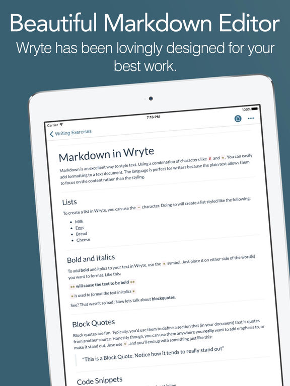 Wryte - A Beautiful Markdown Text Editor Screenshots