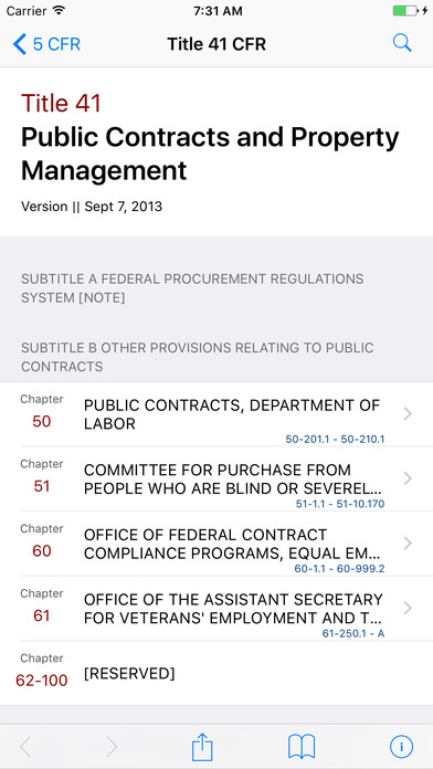 Title 41 Code of Federal Regulations - Public Contracts and Property Management iPhone Screenshot 1