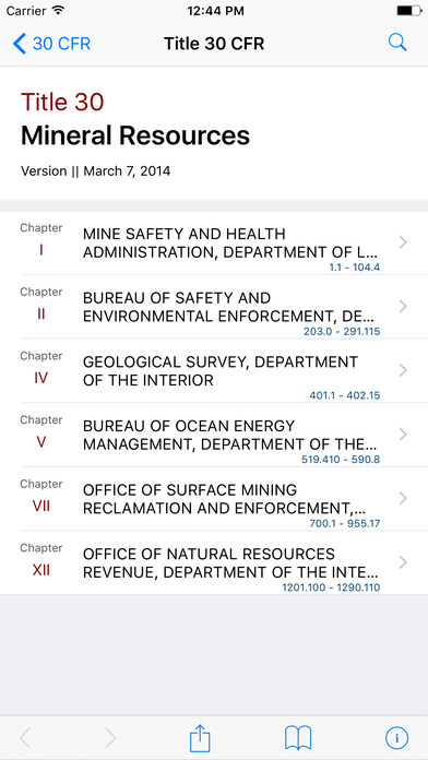 Title 30 Code of Federal Regulations - Mineral Resources iPhone Screenshot 1