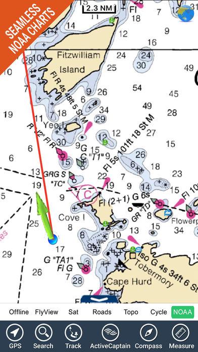 Michigan HD - Water Map Navigator iPhone Screenshot 1