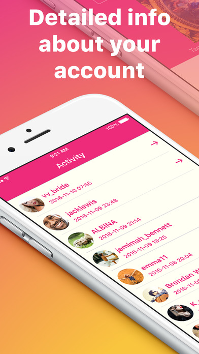 Activity for Instagram - Reports and statistic Screenshots
