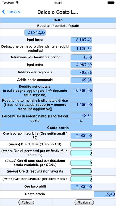 Controllo e Calcolo Busta Paga - Calcolo Costo del Lavoro iPhone Screenshot 5