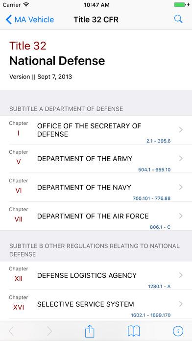 Title 32 Code of Federal Regulations - National Defense iPhone Screenshot 1