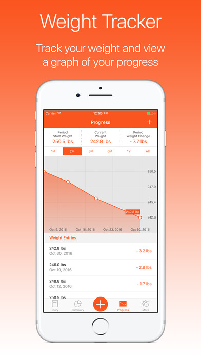 ProTracker Plus Weight, Calorie & Exercise Tracker Screenshots