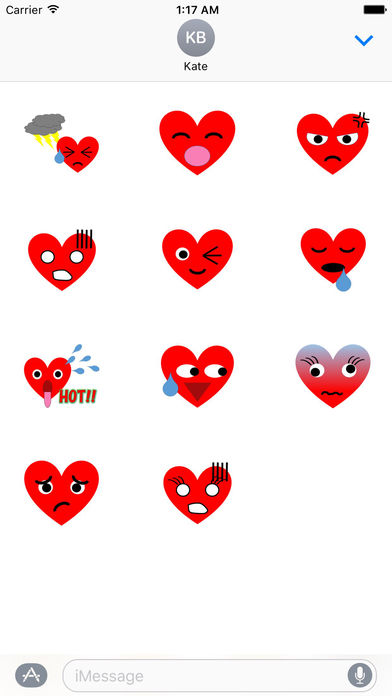 Cute Red Heart For Valentine Day Stickers screenshot 3