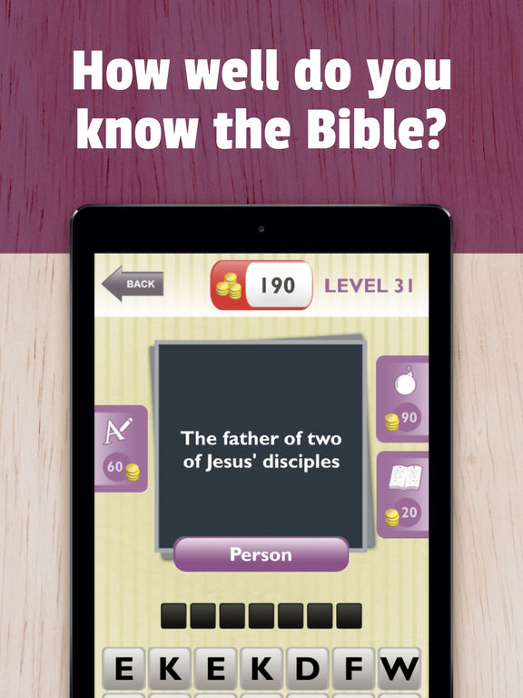 Screenshots of Bible Trivia - Christian Bible test to grow faith with God. Guess Jesus quotes, audio clues and more for iPad