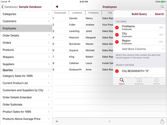 Sybase Mobile Database Client Screenshots