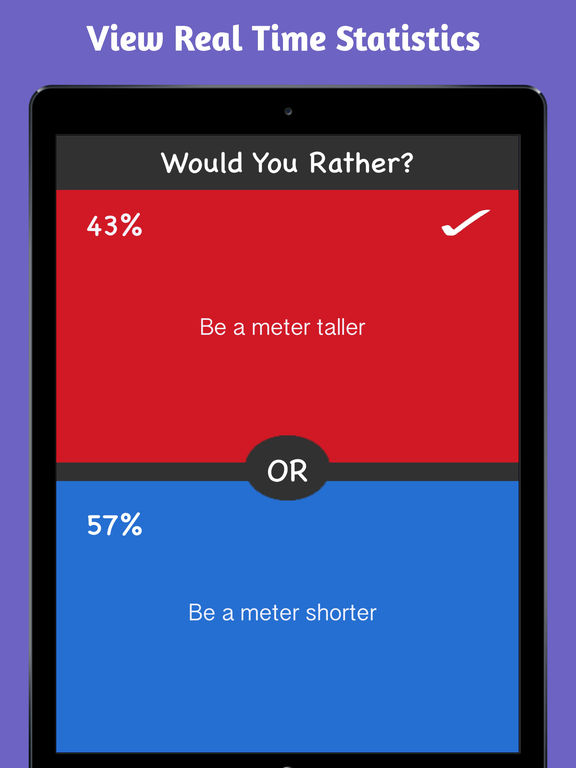 Screenshots of What Would You Choose? Rather Fun Party Game for iPad