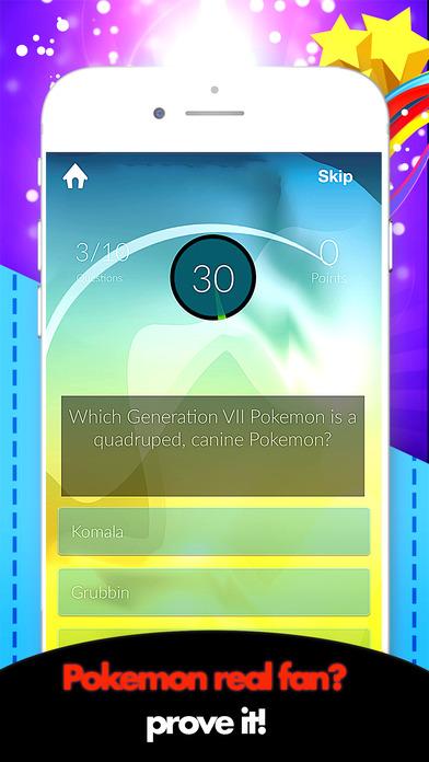 Monsters Quiz For Pokemon Trivia Fans Screenshot