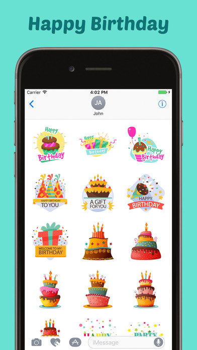 Happy Birthday Stickers Pack for iMessage screenshot 3
