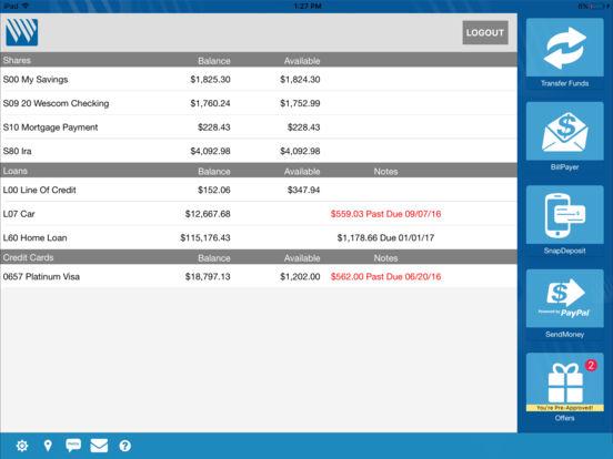 Wescom Credit Union Mobile iPad Screenshot 1