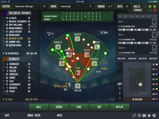 ESPN iScore Baseball Scorekeeper for iPad iPad Screenshot 1