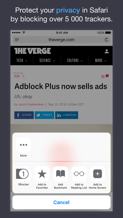 Block ads, trackers & more with 1Blocker app image