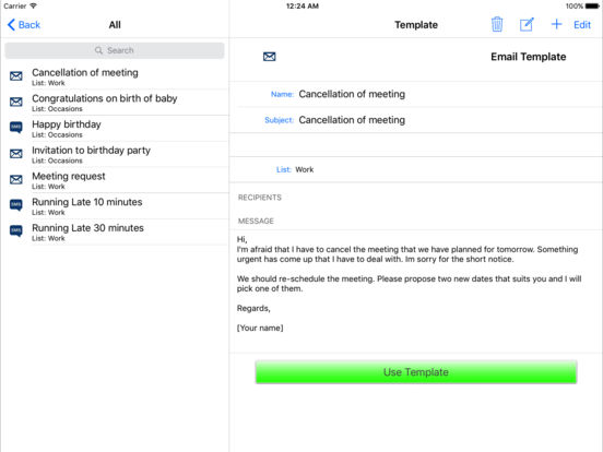 Email & SMS Templates iPad Screenshot 1