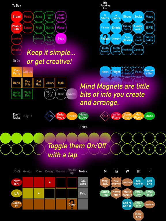 Mind Magnets Info Organizer—Visual Grid Checklists Screenshots