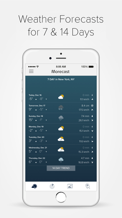 Weather radar storm with morecast app on the app store for Application iphone temperature interieur
